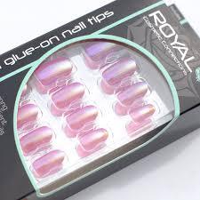 Royal Umělé Nehty Růžové Metalické Nalepovací S Lepidlem Tropical Punch 24 Glue On False Nails Tips 24ks S Lepidlem 3g