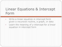 linear equations intercept form