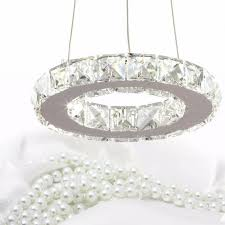 led chandelier crystal light crystal ring dining light wth 8 watt led light bulb for aisle porch hallway stairs cool white light