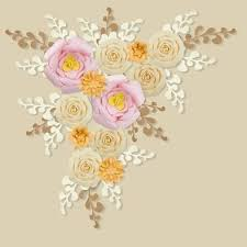 12 pc combo pink vanilla beige gold paper flower backdrop wall decor set