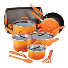 rachael ray pan set. Brilliant Ray Rachael Ray 14Piece Orange Cookware Set With Lids With Pan