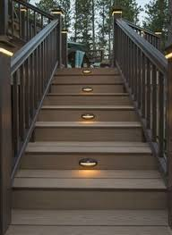 outdoor stairs lighting. Stair Lights Not Only Do You Want To Enjoy Your Deck, But It  Safely . At All Hours Of The Day Or Night. TimberTech\u0027s Riser Lights, Positioned Outdoor Stairs Lighting P