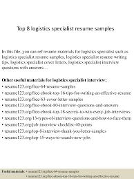 Logistics Specialist Resume Sample Top224logisticsspecialistresumesamples1503312124224243conversiongate224thumbnail24jpgcb=1242722456575 24