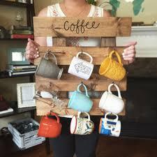 reclaimed wood mug rack urban rustic. Coffee Mug Rack - Reclaimed Wood Look Cup Organizer Repurposed Wooden Teacup Urban Rustic F