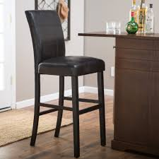 Leather Bar Stools With Back Awesome Black Stool And  Wooden Base Leather Bar Stools With Back E14