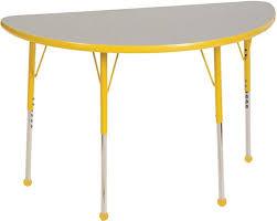 adjule activity table 24 x 48 half round gray top yellow trim yellow legs toddler leg ball glides