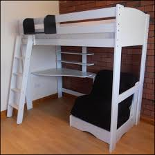 bedroom full size loft bed with desk and futon chair