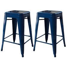 stackable metal bar stool in blue set