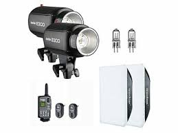2X <b>Godox E300</b> Studio Strobe Flash Light + Trigger + Softbox + ...