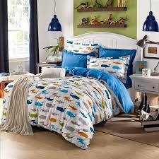 boys blue orange and green colorful ocean fish whale and shark print cartoon themed 100 cotton twin full queen size bedding sets