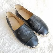 chanel espadrilles sz37 black leather with raffia and rubber sole shoes skkt 1