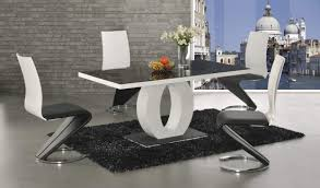 halo black and white dining table with 4 leona z leather chairs