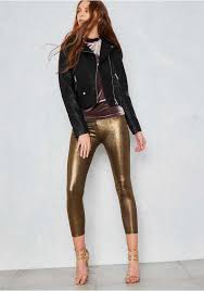 lovely women metallic mayhem grey black metallic gold luanne fine ribbed leggings mi980432 leather jacket black leather metallic gold charcoal by clothing