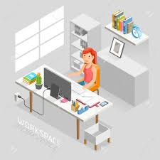 office desk space. Vector - Work Space Isometric Flat Style. Business People Working On An Office Desk. Illustration. Desk