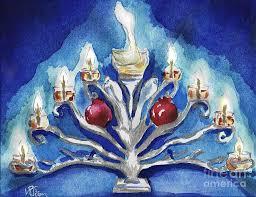Miracles Hanukkah Menorah Painting by D Renee Wilson