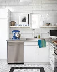 view in gallery stainless steel countertops and white subway tile in a modern kitchen