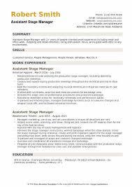 Artist Manager Resume Job Description Assistant Stage Manager Resume Samples Qwikresume