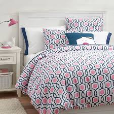 trellis twist duvet cover sham bright pink royal navy
