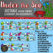 Classroom Job Chart Ocean Theme Editable