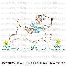 Vintage Embroidery Designs Machine Vintage Running Puppy Embroidery Design Running Dog