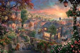 First thomas kinkade and his disney puzzle has a lot of easter eggs the one that i have to say that has the most easter eggs is the cinderella one because theres pinocchio,peter pan and it has snow white in it and other characters i think that i've haven't found! Lady And The Tramp Thomas Kinkade Studios