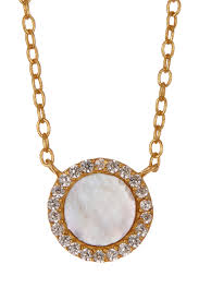 argento vivo18k gold plated sterling silver mother of pearl cz pendant necklace