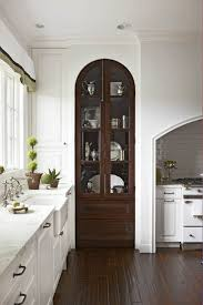 with glass cabinet doors