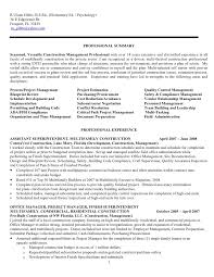 Psychology Resume Examples Adorable Construction Project Management Jobs Resume For R Ulann Gibbs