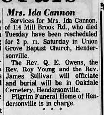 Mrs.Ida Austin Cannon funeral service is rescheduled. - Newspapers.com