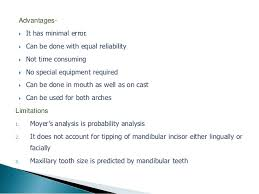 Moyers Probability Chart Mixed Dentition Analysis