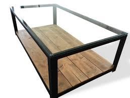Table Basse En Acier Bois Et Verre Furniture Pinterest