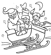 Santa Claus With Happy Kids Coloring