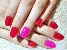 ネイル 赤 ピンク