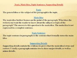 TOPIC SENTENCES AND SUPPORTING DETAILS Part 1 - ppt video online ...