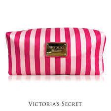 authentic victoria s secret print extra large cosmetic bag pink stripe
