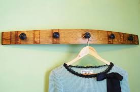 Wine Barrel Stave Coat Rack Wine Barrel Stave Coat Rack with Bronze Ring Knobs French Oak 3