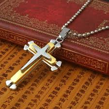 details about uk mens chain necklace silver gold cross pendant men s chunky steel