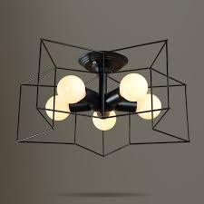 modern style metal star shaped cage 5 light black white semi flush mount
