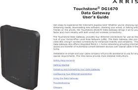 Arris Modem Ds Us Lights Blinking Dg1670 Touchstone Data Gateway User Manual Touchstone Dg1670