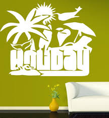 palm tree wall stickers: vinyl decal recreation attributes holiday palm beach sun wall sticker n