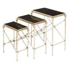 3 piece metal nesting tables black marble accent gold woodrow metal nesting tables