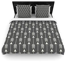 amanda lane tribal arrows dark gray cotton duvet cover queen 88