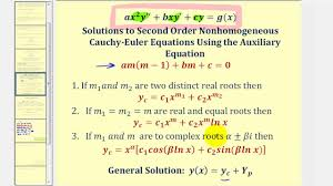 second order nongeneous cauchy euler diffeial equations you