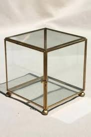 vintage glass brass box showcase cube shaped display case and