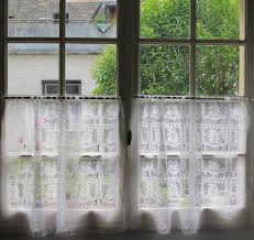 Lace Window Treatments Pair Vintage French Lace Curtains Cafe Curtains Panels Nets