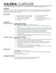 resume for retail job assistant store manager resume example assistant  manager retail job description resume