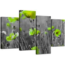 >canvas pictures of green poppies in black white for your living room display gallery item 5 set of 4 modern green canvas wall art display gallery item 6
