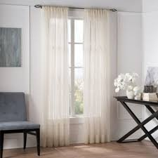 Valeron Natural Sheer 84-Inch Window Curtain Panel in Linen
