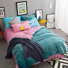 papa mima dark green and pink fleece fabric bedlinens queen king size duvet cover flat sheet bedding sets bedclothes super king bedding full size bedding