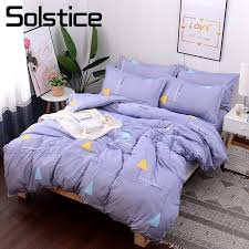 solstice home textile duvet cover flat bed sheet pillowcase purple simple bedding set girl teen